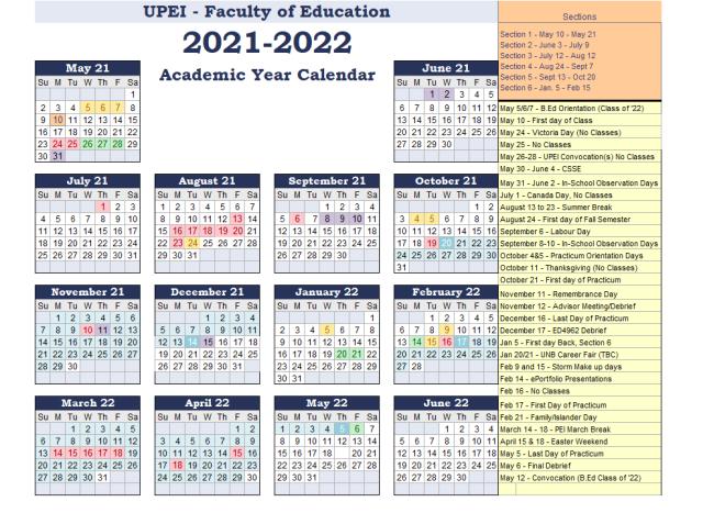 Academic Calendar - 2021-22